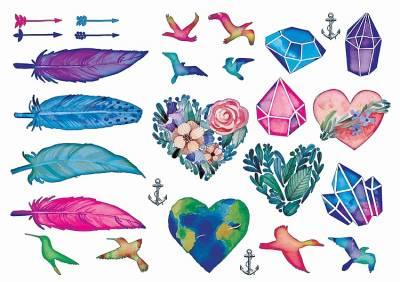 1xA4 Sheet  Water Colour Tattoos