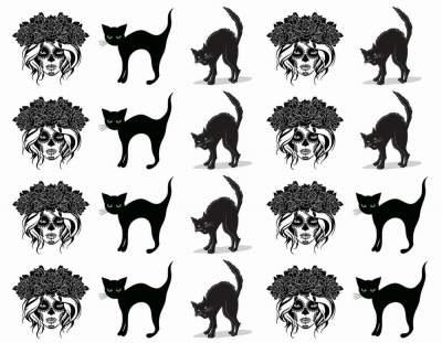 1xA4 Sheets Lucky Black Cats Temporary Tattoos