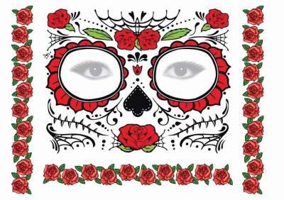 1xA4 Sheets Sugar Skull Mask Temporary Tattoos