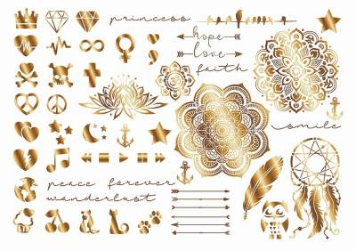 On Trend Tattoos Kit 2 Gold Look Metallic Tattoos