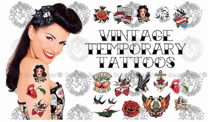 Vintage Rockabilly Temporary Tattoos